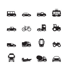 transport pictograph car ship subway train yacht vector image
