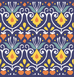 Tribal ethnic flower texture ikat fabric vector