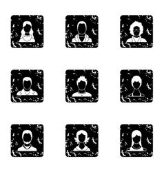 Types of avatar icons set grunge style vector image
