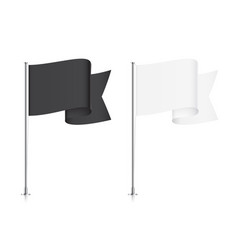 waving black and white pointed flag templates vector image