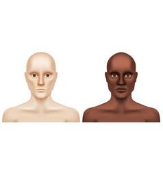White and black naked men looking at camera vector