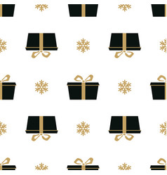 winter white background with black and gold gift vector image