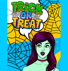 witch and trick or treat message vector image