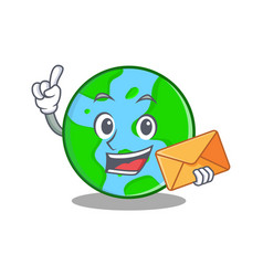 With envelope world globe character cartoon vector