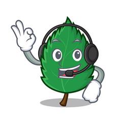 With headphone mint leaves mascot cartoon vector