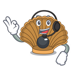 With headphone shell with pearl mascot cartoon vector