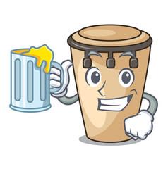 With juice conga mascot cartoon style vector