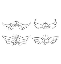 angel wings drawing winged vector image