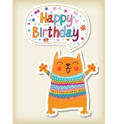 birthday greeting with funny animals vector image