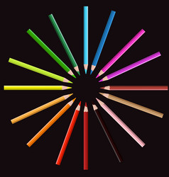 color pencil on circle position with black vector image