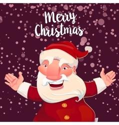 Cute Santa on dark snow backdrop vector image