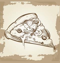 hand sketched pizza on vintage grunge background - vector image vector image