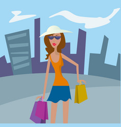woman shopping happy girl in hat with shopping vector image