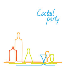 coctail party invitation card with glasses and vector image