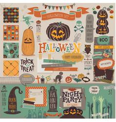Halloween scrapbook set - decorative elements vector image vector image