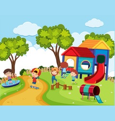 happy children in playground at daytime vector image vector image