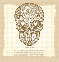 mexican decorative skull on vintage background vector image