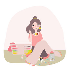 people needlework sewing and tailoring concept - vector image