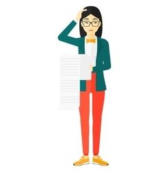 Woman holding long bill vector image