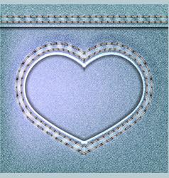Denim valentines day background embroidered jeans vector