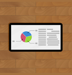 pie chart on tablet vector image vector image