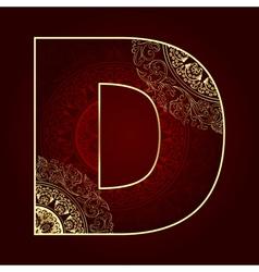 Vintage alphabet with floral swirls letter D vector image vector image