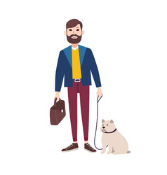 young smiling man with beard dressed in stylish vector image