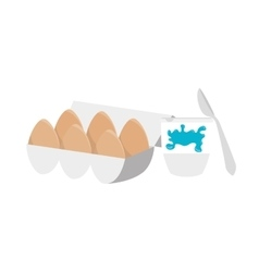 Eggs with butter icon vector