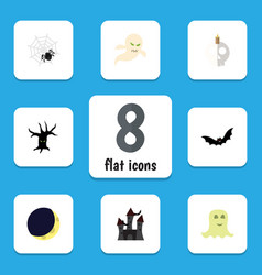 flat icon halloween set of spinner crescent vector image vector image