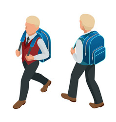 isometric boy back to school concept a student in vector image