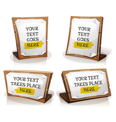 white paper signs on wood tablet vector image