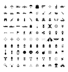 100 military simple black icons vector image