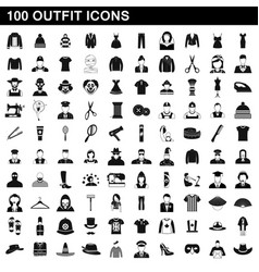 100 outfit icons set simple style vector image