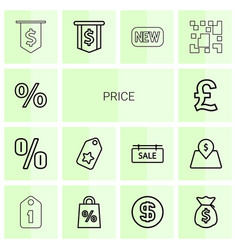 14 price icons vector image