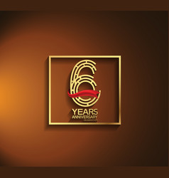 6 years anniversary logotype golden color vector