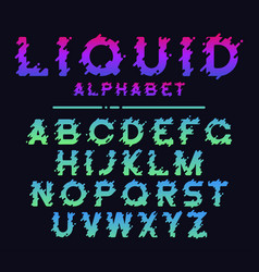 abstract colorful liquid splash alphabet modern vector image