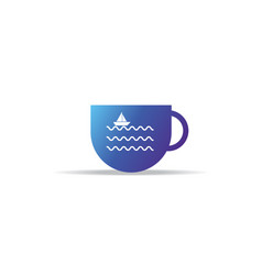 Abstract cup icon with sea wave ship boat logo vector