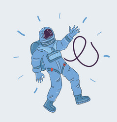 Astronaut wave his hand vector