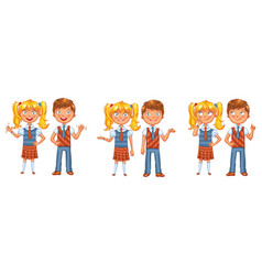 Back to school boys and girls posing together vector