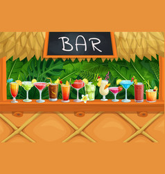 beach tiki bar alcoholic cocktails vector image