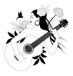 Beautiful girl playing guitar surrounded birds vector