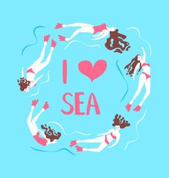 beautiful girls swimming sea underwater vector image