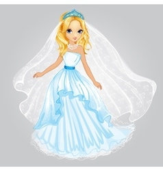 Beauty Blonde Princess In Wedding Dress vector