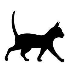 black silhouette of a walking cat vector image