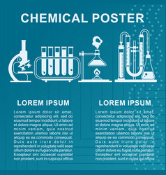 blue chemical poster white icon vector image