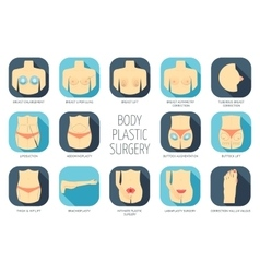 Body plastic surgery icons Flat design vector