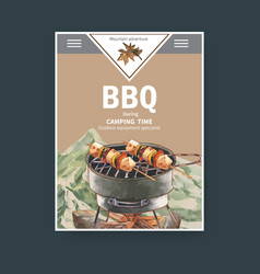 Camping poster design with grill stove firewood vector