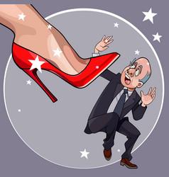 Cartoon frightened man fell under a womans heel vector