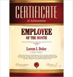 Certificate template employee month vector