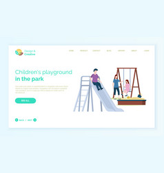 children playground mother with kids playing web vector image